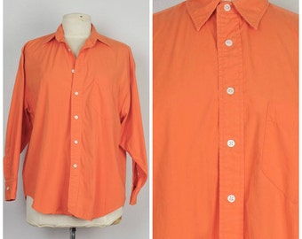 Ralph Lauren orange button up long sleeve Shirt Vintage 80s 90s womens Top blouse 12 large 46 bust