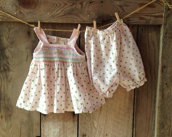 vintage baby dress and bloomers // pink and green polka dot // size 12 months