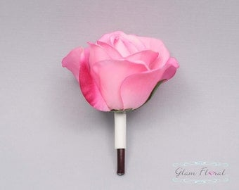 Hot Pink Rose Boutonniere . Real Touch Flowers. Caroline Rose Collection