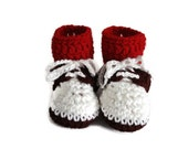 Crochet Oxford Saddle Shoes Booties Made from Worsted Weight Yarn for Baby White Brown with Red Socks Size 6-9 Months Gender Neutral