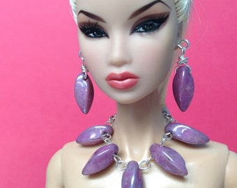 Barbie doll jewelry set silver with twisted purple beads - Made to Order