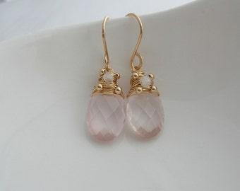 Pink Quartz and Moonstone Oval Drops