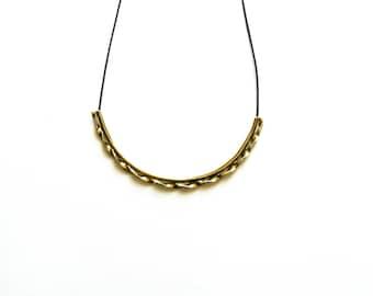 Oxidized Brass Necklace-Choker Necklace-Gold Tube Necklace-Greek Inspired-Statement Necklace-Tube Jewelry-Greek Modern Jewellery