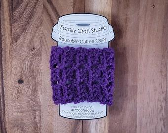 Dark Purple Scales Crochet Coffee Cozy