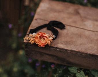 Pumpkin spice stretch tie back Headband