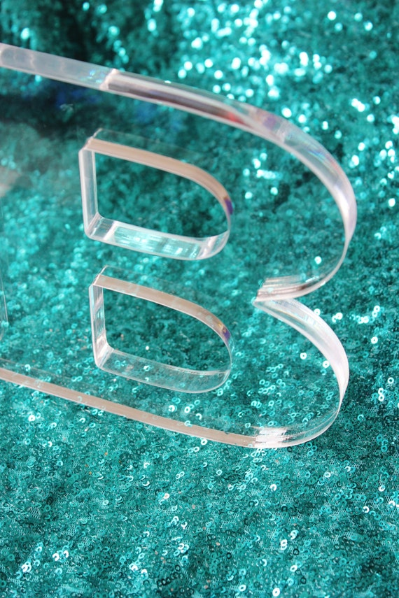 3 lucite letters acrylic clear diy initial decoration home room decor letter modern chic minimalist monogram