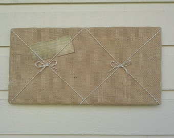 Dorm Decor for students, Bulletin Board made from Burlap and twisted twine with two bows, light beige almost white, custom options available