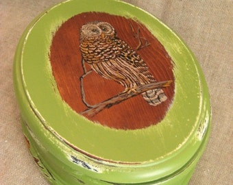 50% Off Oval Wood Box with Owl in Linden Green / Keepsake or Trinket Box for Him or Her in Green Ivy