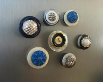 Vintage Button Magnet Set / Upcycled Vintage Buttons for Magnetic Board / Cottage Chic Magnets for Home, Kitchen, Office
