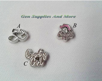 Country Girl Charms   Cowboy Charm   Cowgirl Charm    Floating Charms For Floating Lockets    Personalized Floating Memory Locket