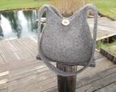 13-1035 hand knit felted wool purse tote handbag f.s.