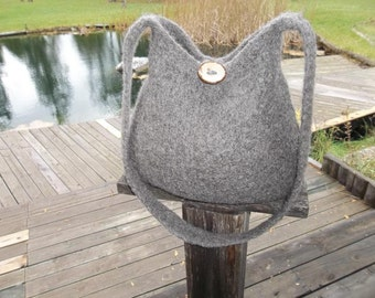 13-1035 hand knit felted wool purse tote handbag f.s.