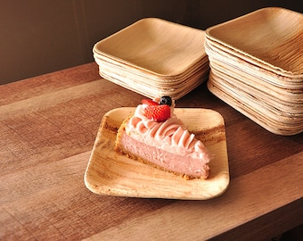 "Dessert Plates.  Ready in 2-3 Business Days.  Disposable 6"" Palm Leaf Plates.  Set of 10.  Modern Square Plates."
