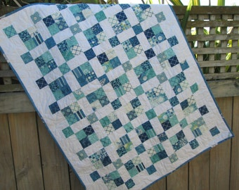Baby Quilt, Twin Bed Quilt, Lap Quilt or Throw, Seascapes, Blue Aqua, Teal Bedding.  Blue White Quilt