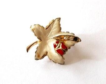 Vintage 1960s Maple Leaf with Ladybug Pin