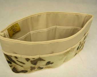 Purse To Go(R)Pockets Plus-Purse organizer insert transfer liner in Wild Cat/Tan print- Extra Jumbo size-Enclosed bottom