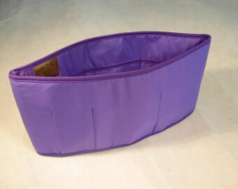 Purse To Go(R) organizer insert transfer liner- Purple color jumbo size (15 L x 7.5 H x 4 W)-Enclosed bottom-Change purses in seconds