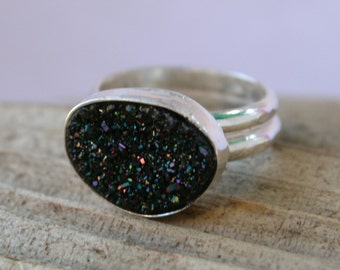 25% OFF SALE - Black Titanium Druzy Quartz Crystal Sterling Silver Ring - Size 6.5