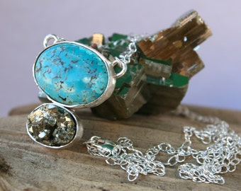 Turquoise & Pyrite Cluster Crystal Sterling Silver Necklace