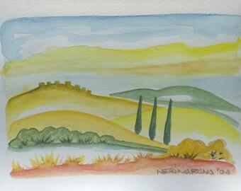 original watercolor Landscape Tuscany by nerina52 watercolor Art Wall Decor Landscape Green Yellow Tuscany Hill Modern art