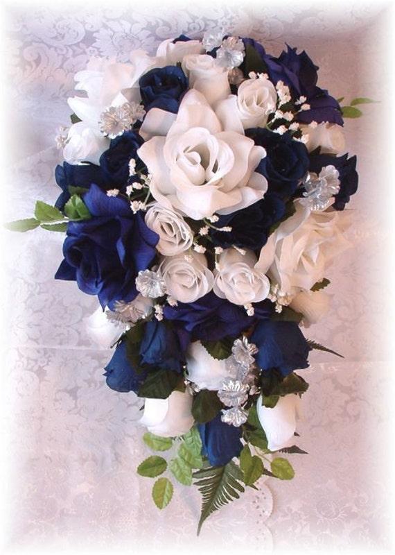 Marine Wedding Bouquet 21pc Navy Blue White Silver Silk