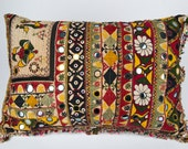 Vintage Indian Pillow Cushion  Hand Embroidered 16 x 24 inch 40 x 60 cm Bright Colours.