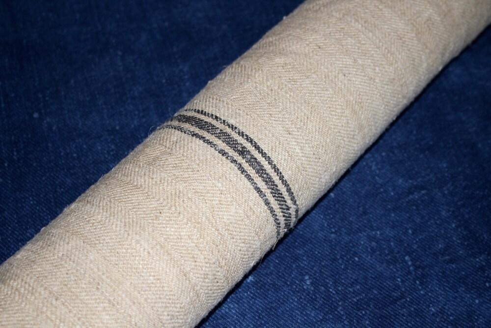 Vintage burlap sacking with black stripe hungarian grain