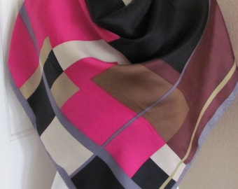 """Beautiful Large Colorful Soft Silk Scarf  // 34"""" Inch 88cm Square // Best of the Best"""