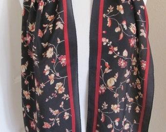 "Anne Klein // Ladies Black Floral Silk Scarf // 11"" x 50"" Long"
