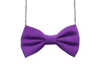 Purple Bow Tie Necklace, Matte Cotton Women Casual Bowtie, Party Favor, Bridesmaids Accessories Violet
