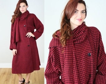 ON SALE Vintage 80s SAKS Fifth Avenue Plaid Coat