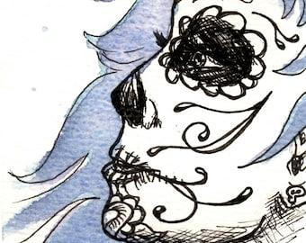 Sugar Skull Lady - Original Ink/Watercolor Drawing
