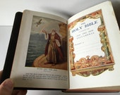 Beautiful Leather Antique Holy Bible with Helps from 1901 //  Illustrated with Color Plates