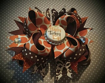 Thanksgiving hair bow, bottle cap bow