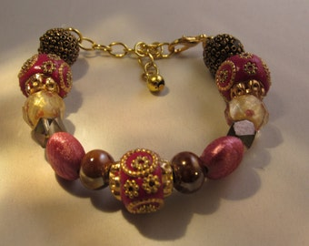 Hot Pink Love Beaded Bracelet