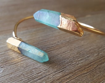 S T A R D U S T B A N G L E// Aqua Aura Quartz Bangle with 22k Gold Plate