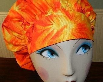Orange Sunburst Banded Bouffant Surgical Cap