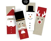 Printable Holiday Gift Tags for the Christmas Holiday Season, featuring modern illustrations of reindeer, snowman, nutcracker and santa.