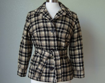 1950s Lilli Ann Tisse a Paris // Wool Boucle Belted Jacket // Not the Usual Lilli Ann // So Wearable // Medium