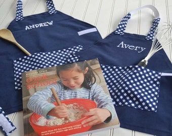 Kids Personalized Aprons - Navy Gingham - Embroidered Name, Monogram, Preschool, Toddler Smock