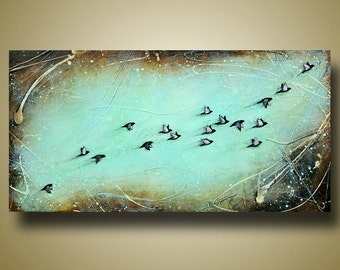 Bird Flying Painting - Flock of Birds - Birds in Flight - Teal and Brown Colors - Flight and Whimsy 18x36 by Britt Hallowell