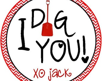 I Dig You valentine PRINTABLE tag, personalized favor tag, valentine treat, valentine favor, classroom favor, classroom treat