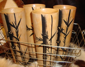 Vintage BAMBOO TIKI TUMBLERS Four In A Wire Basket Make A Luau Statement Drink Up