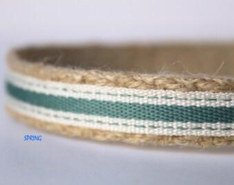 "Sage Stripe Collar, 5/8"" Wide Dog Collar, Narrow Dog Collar, Preppy Dog Collar"