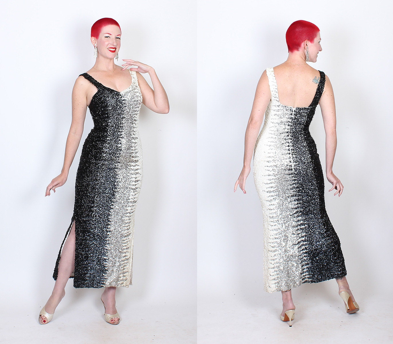 DAZZLING 1950s Fully Hand Sequined Gradated Black to Silver to White Sequins on White Rayon Crepe Extreme Hourglass Evening Gown - Ombre - M