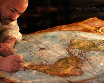 Commission- Hand Painted CANVAS MAP Authentic Old World Map! Antique Globe Large Painting by Fae Factory Artist Dr Franky Dolan (Home Decor)