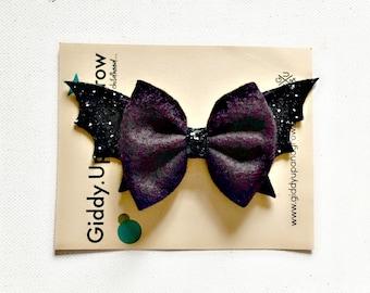 Halloween Hair Bow Bat Fall Headband, Halloween Kids Bows, giddyupandgrow