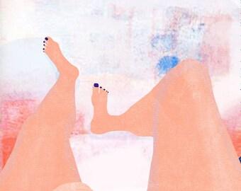 SUNDAY art print // body illustration // summer painting