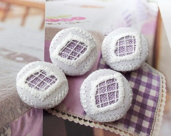 Fabric Covered Buttons - Chic Embroidery White Diamond Rhombus On Purple (4Pcs, 0.87 Inch)