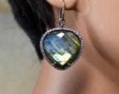 LP 1357  Heart Shaped Labradorite With White CZ Bezel Earrings
